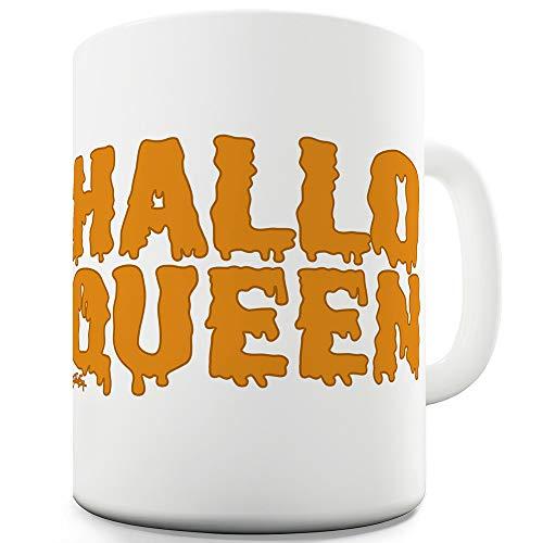 TWISTED ENVY Halloween-Tasse mit Aufschrift Hall-Queen, Keramik, weiß, 11 OZ (Jagd-kostüme Für Paare)