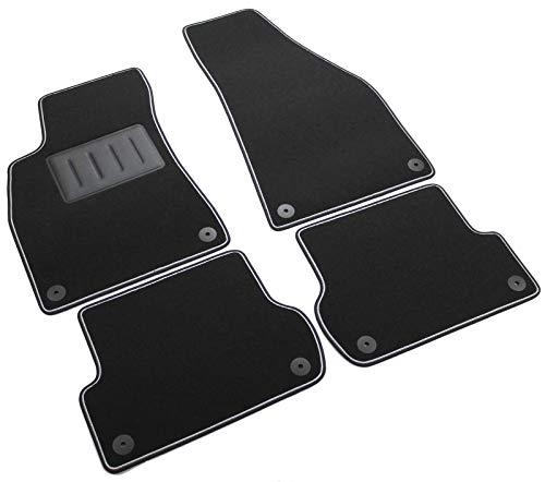 NT00205 Auto-Fußmatten aus Teppichmaterial, schwarz, rutschfest, zweifarbiger Rand, Absatzschoner aus Gummi, für Audi ()