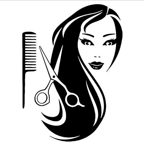 captain_y Wandsticker Friseursalon Wandaufkleber Dekoration Schönheit Mädchen Lange Haare Schere Kämme Salon Wandtattoos Vinyl DIY Wandbild Tapete (Haare Kämmen Diy)