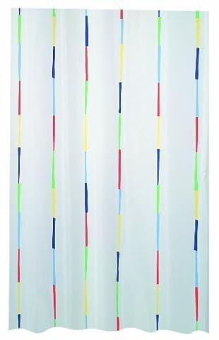 Spirella Dario Rideau de douche Polyester Multicolore : blanc/violet/bleu/orange/vert/jaune 120 x 200 cm