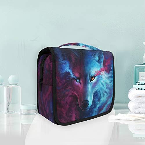 Make-up Kosmetiktasche Sternenhimmel Nebel Tier Wolf Portable Storage Reise Kulturbeutel