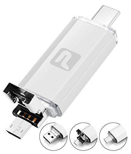 Flash Laufwerk 3 in 1, Pasonomi Multifunktional Wasserdicht 32GB Type-C / USB 2.0 / micro USB Stick Speicherstick für Android Handy Macbook und PC (Silber)