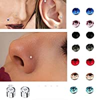 Coogel crystal Magnetic stud earring Fake magnet Nose Ear Lip Stud non piercing tragus nose stud (8 pairs white)