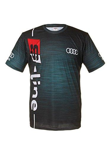 Subprint Audi Black Blue Logo Racing Car Cool Graphic Short Sleeve T Shirt (XXXL) (Tee Tattoo Short Sleeve)