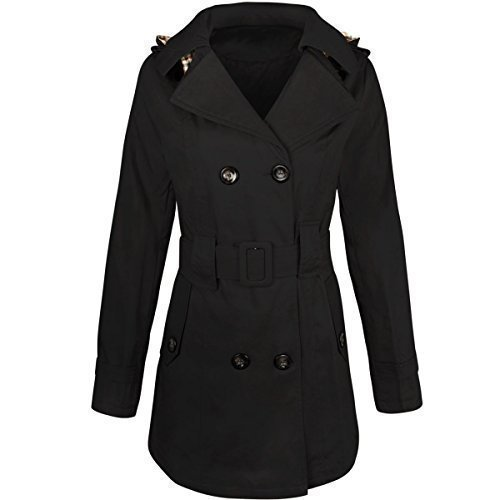 womens-ladies-double-breasted-mac-belted-coat-canvas-smart-jacket-trench-parka-m-uk-size-12-black