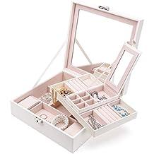 Joyero de polipiel con espejos de Meshela–2 bandejas para el almacenamiento de pendientes, anillos, pulseras, collares, relojes, etc. con cerradura