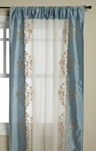 Regal Home Danbury 54-Inch by 84-Inch Embroidered Window Panel, Aqua by Regal Home Collections -
