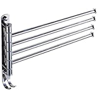 FHKBP Swivel Towel Rail, Multi-Function Indoor Clothes Airer Dryer, Stainless Steel Polished Finish, Bathroom Accessory, Wall Mounted