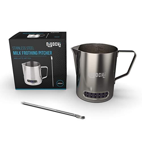 Milchaufschäum-Krug aus Edelstahl, 600 ml, mit Latte Art Stift, für Latte Kaffee, Cappuccino mit Thermometer - Barista Kit