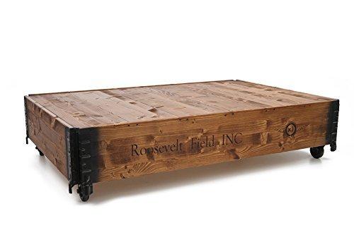 Uncle Joe's Table basse shabby chic en bois, style vintage, Roosevelt Field, marron clair, grand modèle, 124 x 84 x 31 cm
