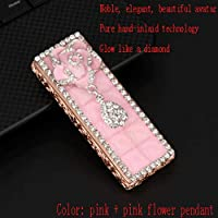Zenghh Women's Diamond-encrusted Usb Rechargeable Tungsten Steel Lighter Cute Windproof Personality Ultra-thin Mute Ladies Creative Rhinestone Gift Tide (Color : Pink)