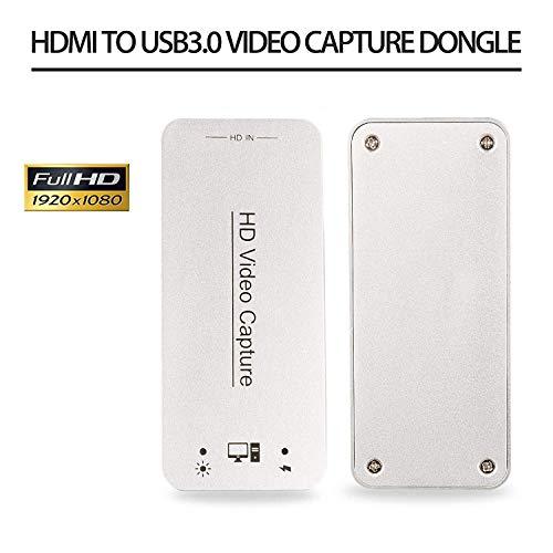 DIGITNOW! Capturadora de vídeo HDMI USB 3.0 y Dispositivo de Tarjeta HDMI Dongle Full HD 1080P Video Audio HDMI to USB Converter Converter para Windows Linux Sistema Os X