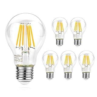 Ascher 5er Pack E27 LED Lampe - E27 8W Ersetzt 75W Halogen, 1000Lumen, Warmweiß 2700K, Nicht Dimmbar, AC 220V-240V, E27 LED Leuchtmittel