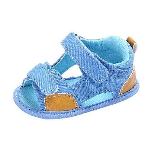 squarex Baby Kinder Mädchen Jungen, Segeltuch, weiche Sohle, Neugeborenen-Sandalen, Schuhe 6-12 Months hellblau - Sandale Gepäck