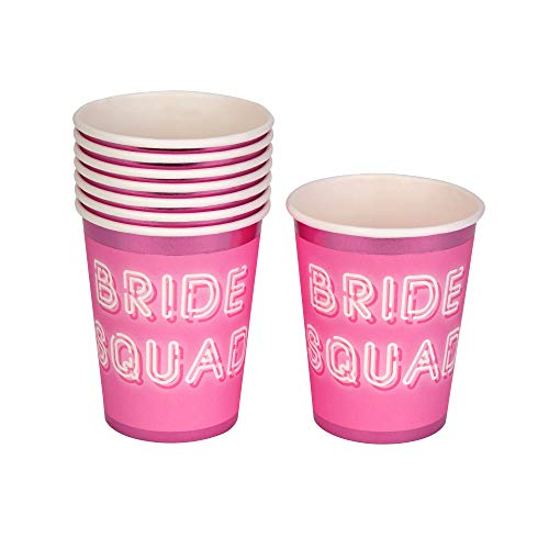 Neviti 775936 Bride Squad-Paper Cup-8 Pack, Rosa, 7.5 x 7.5 x 9