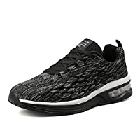 DAVAS Men's Breathable Flying Weaving Mesh Athletic Running Walking Gym Shoes Casual Sneakers Size 40 EU Black