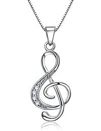 Celebrity Jewellery Argent 925 note de musique Bijoux Clef de sol Treble Clef for Her Femme Bijoux Gift