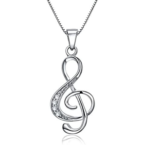 Celebrity Jewellery S925 Sterling Silver Jewelry Music Note Chiave di violino per il regalo di suo San Valentino