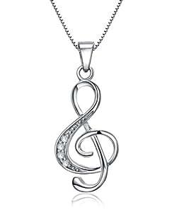 Celebrity Jewellery S925 sterlina pavimenta Zirconia cubico di musica Nota pendenti di collana per le donne