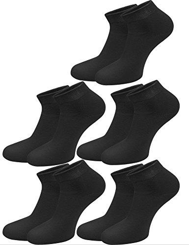 normani 9 oder 10 Paar Sneakersocken für Herren in Übergröße XXL Farbe 10 Paar Sneaker Schwarz