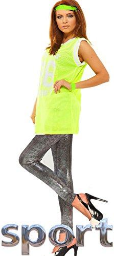 Damen Sport Fitness Kostüm- Cheerleader Uniform- New York Muskelshirt 80er, 36-38, neon gelb silber