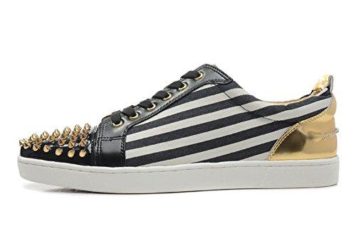 saman-chaussures-unisexe-or-gondolaclou-pics-orteils-lacets-plats-lowtop-trainer-sneakers-homme-noir