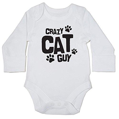 hippowarehouse Crazy Cat Guy Pfoten Baby Weste Body (Langarm) Jungen Mädchen Gr. 68, weiß (Katzen Cheetoh)