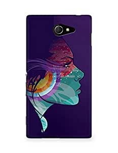 Amez designer printed 3d premium high quality back case cover for Sony Xperia M2 D2302 (Abstraction vector girl headphones)