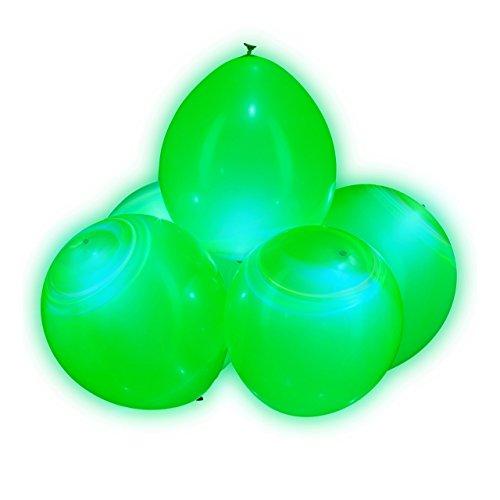 Relaxdays LED Luftballons, 5er Set, Leuchtende LED Ballons für Hochzeiten und Geburtstage, 30 cm Durchmesser, grün