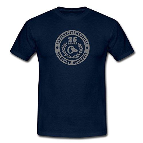 Spreadshirt Tapferkeitsmedaille 25 Jahre Silberne Hochzeit Männer T-Shirt, XL, Navy