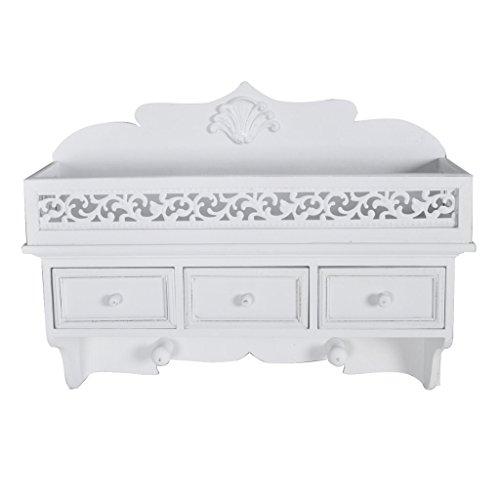 Festnight mensola appendiabiti portachiavi a muro da parete con 3 cassetti design elegante bianca 48.5 x 13 x 37.5 cm