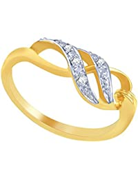 Silvernshine Natural Diamond Accents Swirl Design Ring In 14k Yellow Gold Fn .925 Sterling