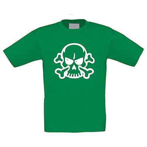 T-Shirt Kinder Halloween -- Böse Totenkopf mit Knochen, kellygrün-weiss, (Für Ideen Von 6 Familie Halloween Kostüme)