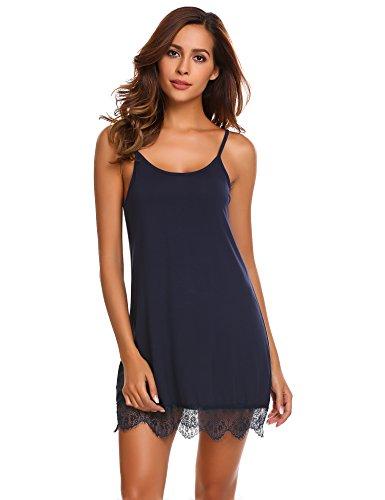 ADOME Damen Sexy Nachthemd Kurz Negligee Nachtwäsche Sleepwear Unterkleid Lingerie Unterröcke Kleider Babydoll mit String & Spitze (Large, Navy)