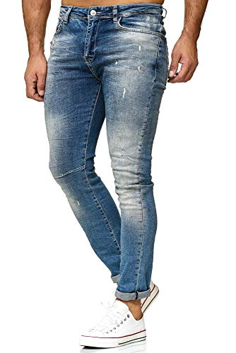 5a53ec2875 Redbridge Hombres Jeans Slim-Fit Pantalones Destruida Negro Básico Moda  Vaqueros