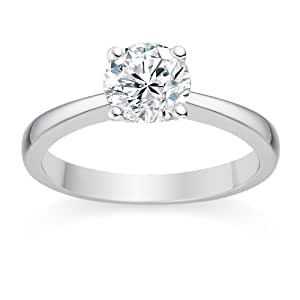 0.30 Carat E/VVS2 Round Brilliant Certified Diamond Solitaire Engagement Ring in 18k White Gold