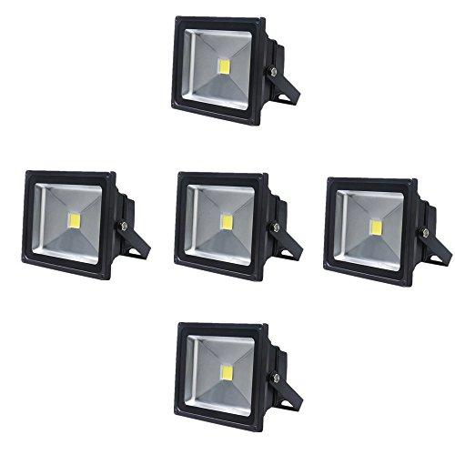 SAILUN 5 x 20W LED Fluter Strahler Licht Scheinwerfer Außenstrahler Wandstrahler Schwarz Aluminium IP65 Wasserdicht AC 85 - 265V Kaltweiß (5 x 20W Kaltweiß)