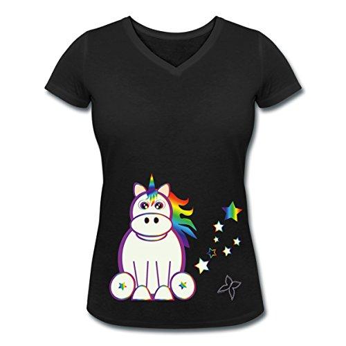 Licorne En Arc-En-Ciel T-shirt col V Femme de Spreadshirt® Noir