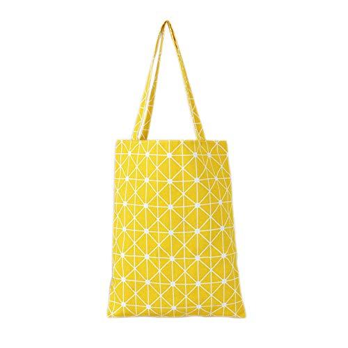 Gestreifte Damen Handtasche (KLJDC Taschen Handtaschen Schultertaschen Frauen-Schulter-Beutel-Baumwollleinenrasterfeld-gestreifte Handtaschen-Segeltuch-Geldbeutel-Beutel-Damen-Mädchen-Einkaufstaschen)