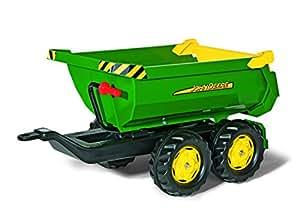 Rolly Toys 122165 Kipper Anhänger Halfpipe John Deere; Zweiachsenanhänger; mit Kippfunktion und kippbarer Heckklappe (Geeignet für Kinder ab 3 Jahren; Farbe: Grün/Gelb/Schwarz)