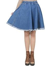 ililily Woman Vintage Distressed Washed Cotton Denim A-Line Flare Skirt
