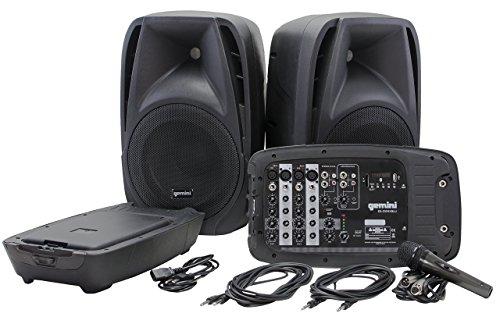 Gemini ES210MXBLU - Sistema Amplificato portatile, 600 W, include lettore mp3, microfono, mixer, 2 diffusori