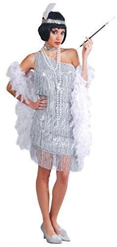 Damen Sexy Silber 1920s Flapper Gatsby Kostüm Kleid Outfit UK 14-16-18