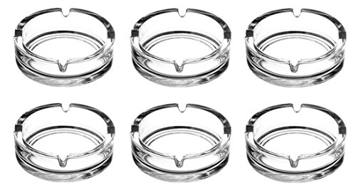Aschenbecher Glasaschenbecher Ascher Glas runde Ausführung Ø 10,5 cm 6 Stück Set (Set Glas-aschenbecher)