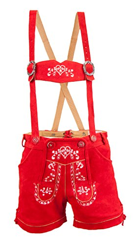 Almwerk Damen Trachten Lederhose kurz Modell Heidi, Größe Damen:XL - Größe 42;Farbe:Rot
