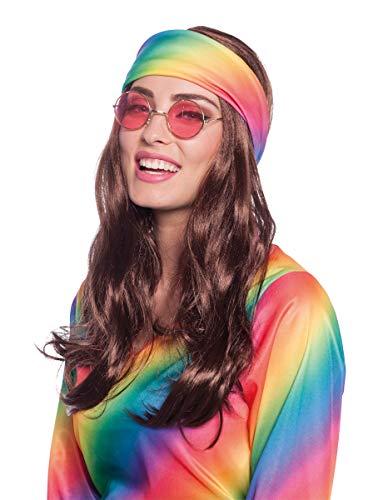 Folat 26843 Perücke mit Hippie Stirnband Fasching Karneval Fastnacht