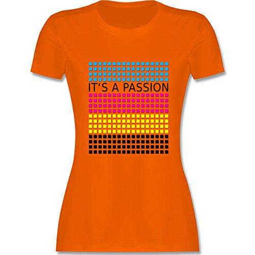Nerds & Geeks - It's a passion - CMYK - tailliertes Premium T-Shirt mit Rundhalsausschnitt für Damen Orange