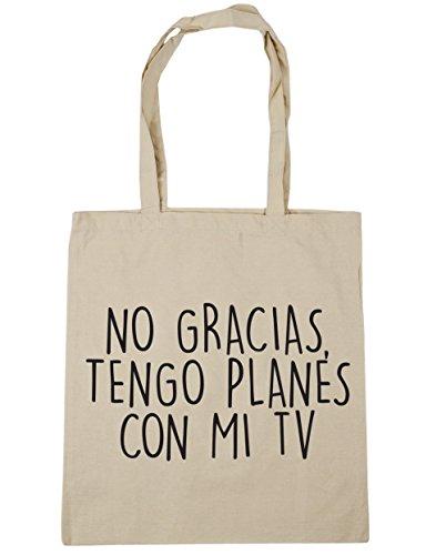 HippoWarehouse No Gracias, Tengo Planes Con Mi TV Bolso de Playa Bolsa Compra Con Asas para gimnasio 42cm x 38cm 10 litros capacidad