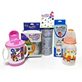 Combo Set Of 3 BPA Free Baby Feeding Bottle 150ml Print, 250ml Spoon Bottle And Smart Cup Sipper