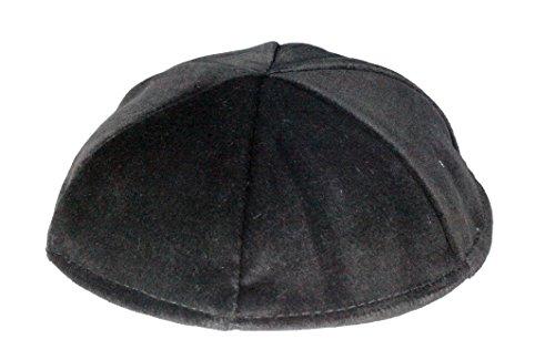 Top-Judaica 23,9cm Schwarz Samt Jüdische Kippa Orthodoxe Yarmulka Kippa 6Panel Schädelkappe 24cm